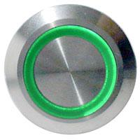 LED Taster grün vandalensicher Edelstahl Ø 19mm IP65