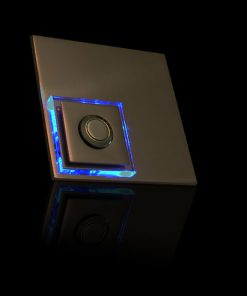 Designer Klingel Messing mit LED bel Glasaufsatz als Karo