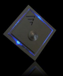 Designer Klingel Messing mit bel. LED Glas und Aufsatz Triangel