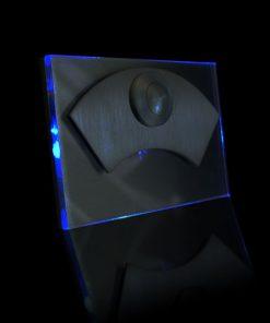 Designer Klingel Messing mit bel LED Glas als Bogenaufsatz