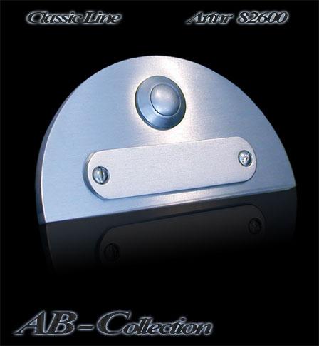 Klingel mit Kreisbogen und Wechselschild 6mm V2a