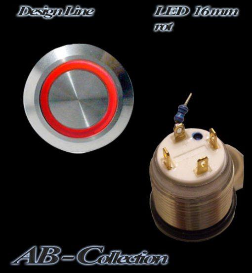 LED Taster rot vandalensicher Edelstahl Ø 16mm IP65