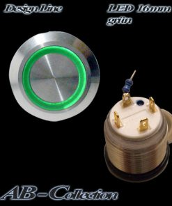 LED Taster grün vandalensicher Edelstahl Ø 16mm IP65