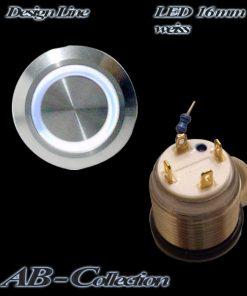 LED Taster weiss vandalensicher Edelstahl Ø 16mm IP65