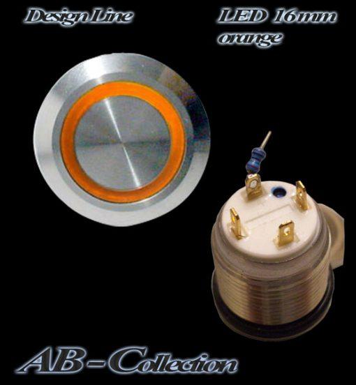 LED Taster orange vandalensicher Edelstahl Ø 16mm IP65