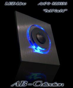 Designer Klingel quadratisch Edelstahl sowie runder LED Aufsatz