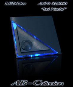 Klingel mit LED beleuchtetem Glasaufsatz und versetztem Dreieck