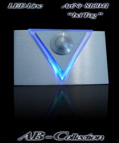Klingel mit LED beleuchtetem Acryldreieck, massiv Edelstahl