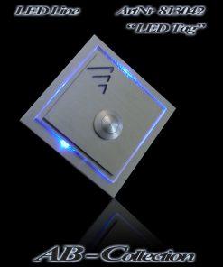 Klingel quadratisch massiv Edelstahl mit LED beleuchtetem Aufsatz