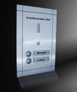 Sprechplatte Mondrian Zweifamilienhaus Edelstahl gestrahlt