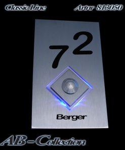 Klingel Rechteck mit Raute sowie LED Aufsatz Raute mit LED