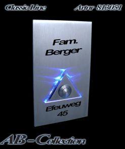 Designer Klingel Rechteck mit Dreieck hochkant XXL Edelstahl sowie LED Aufsatz
