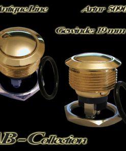 Klingeltaster gewölbt vandalensicher vergoldet Messing Ø 19mm , unbeleuchtet