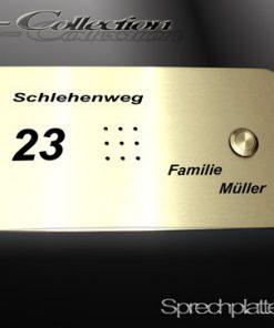 Sprechplatte Serie Wiesbaden massiv Messing  Einfamilienhaus bis Dreifamilienhau
