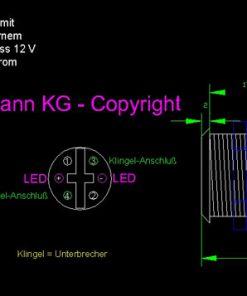 LED Taster blau vandalensicher Edelstahl Ø 19mm IP65