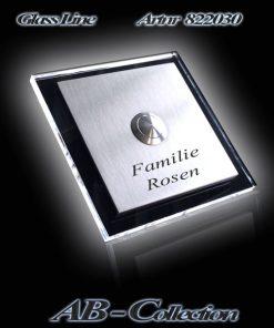 Klingelplatte quadratisch 3mm Edelstahl mit 6mm LED Glas