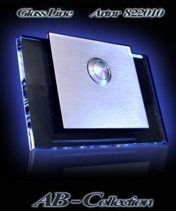 Glasklingel mit versetztem Aufsatz und LED Glasplatte