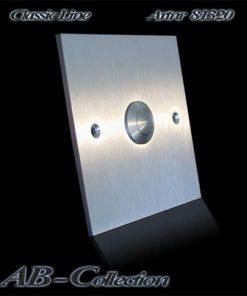 Klingel Edelstahl quadrat auf Unterputzdose mit genormtem Schraubabstand