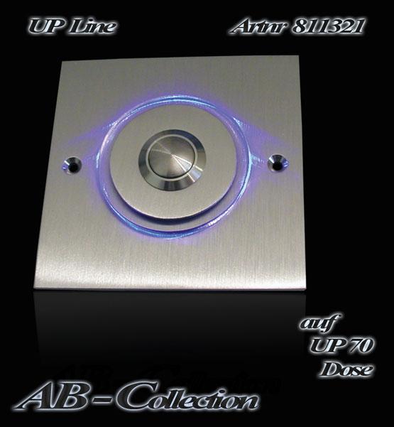Designer UP-Klingel quadratisch massiv 3 mm Edelstahl sowie Acrylglas- LED Aufsatz