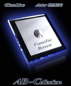 Klingelplatte quadratisch 3mm Edelstahl mit 6mm LED beleuchtetem Acrylglas