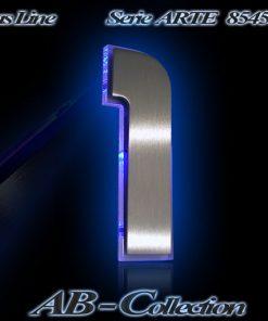 Hausnummer DESIGNER Edelstahl mit LED Glasbeleuchtung
