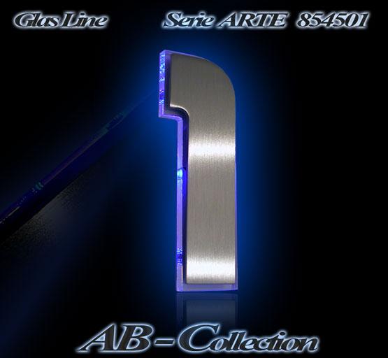 Hausnummer DESIGNER Edelstahl mit LED Glasbeleuchtung – Designer ...