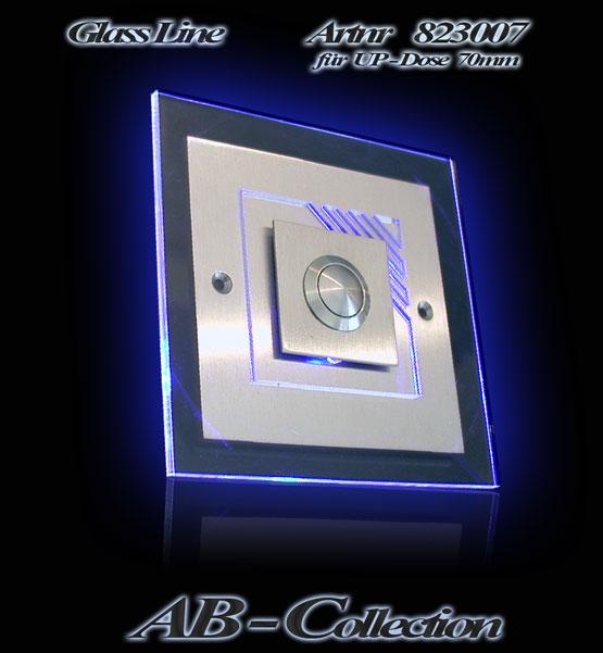 Edelstahlklingel Tropea mit beleuchteter Glas Aufsatzplatte