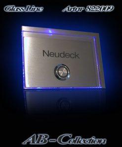 Klingelplatte Cascade 4,5mm Edelstahl mit  LED Glas