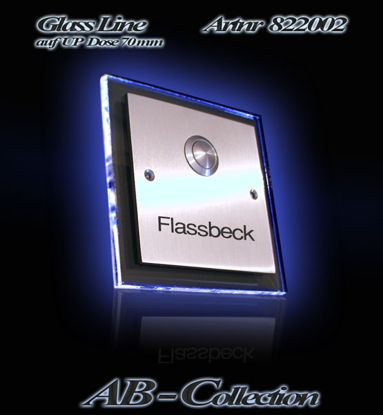Klingel Edelstahl Illumina 2 auf UP Dose mit beleuchteter LED Glasplatte