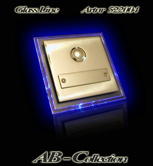 Klingelplatte Messing mit Namensschild und LED Glasplatte