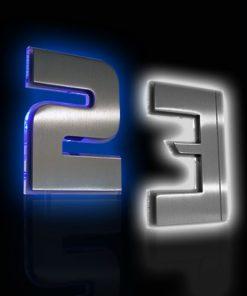 Hausnummer Edelstahl mit Glas und LED Beleuchtung
