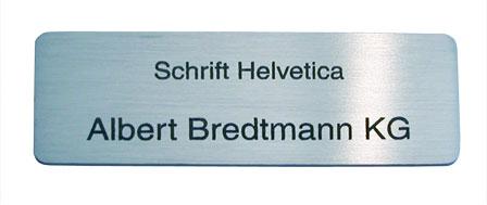 Helvetica: Lasergravur 3 auf Edelstahl