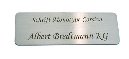 Monotype Corsiva: Lasergravur 6 auf Edelstahl